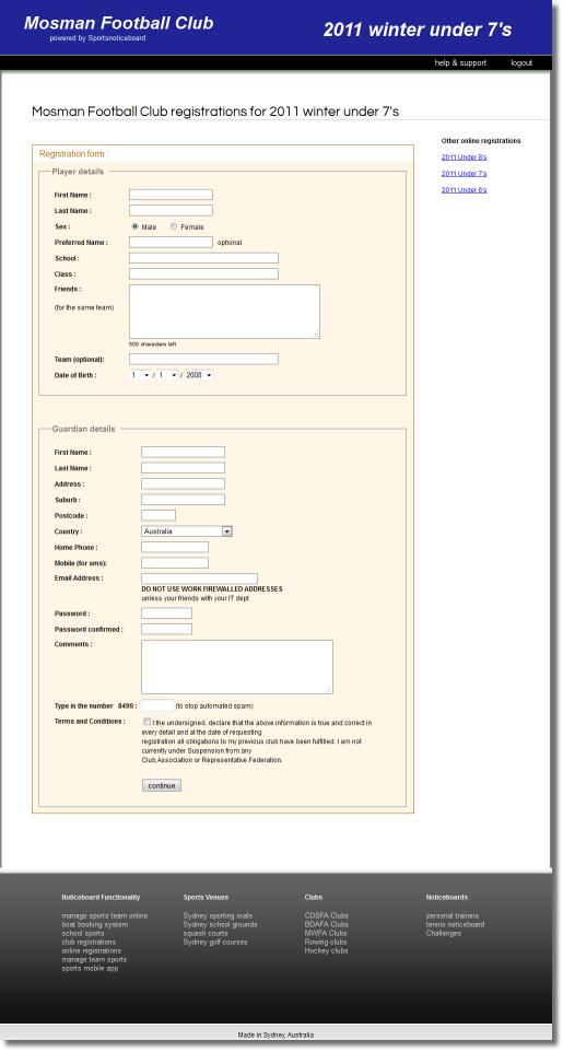 club registrations
